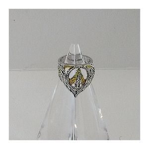 Our Lady of Guadalupe 2 Toned Engraved Ring Size 5